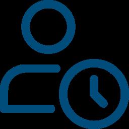 ícone de pessoa e um relógio