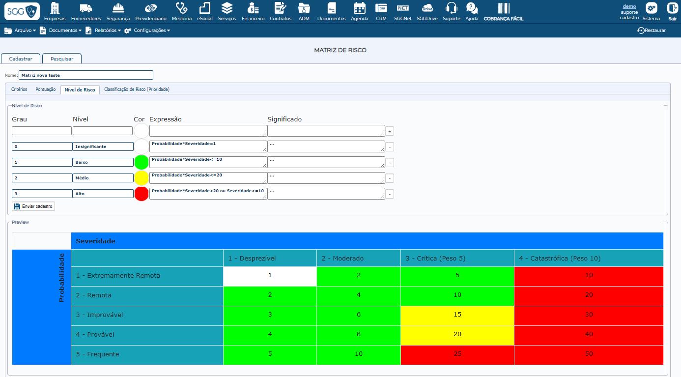 captura de tela de um painel de matriz de riscos